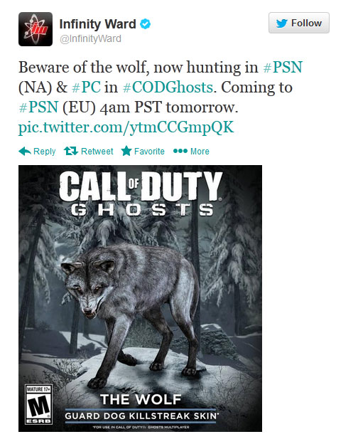 wolf dog killstreak twitter ps4